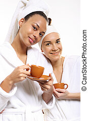Relax in the beauty salon, coffee
