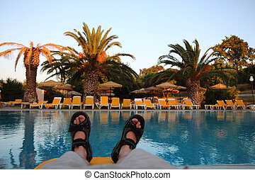 relax in the Greece  by the pool