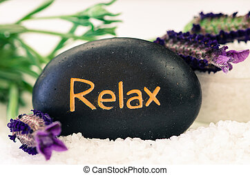 relax lava stone and lavender flower
