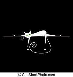 relax., macska, tervezés, fekete, fehér, -e