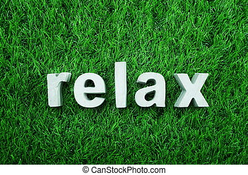 Relax made from concrete alphabet