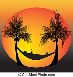 relax on a hammock - relaxing on a hammock in between palm...
