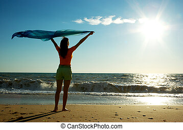 Relax on beach - Girl relax on beach. Emotional scene.