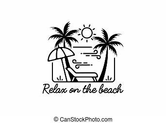 Relax on the beach line art illustration