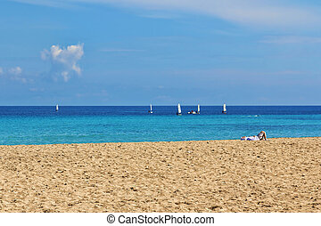 Mondello - Relax on the beach, springtime in Mondello, ...