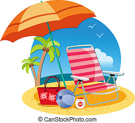 Umbrella, chair, ball and ball on the beach