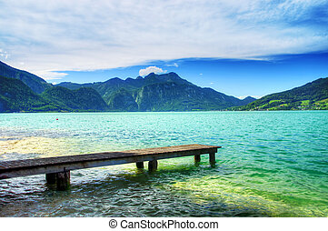 Relax. Pier on the lake in the Salzkammergut. Austria