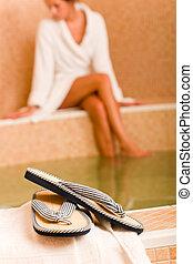 Relax spa pool flip-flops woman wear bathrobe - Flip-flops ...