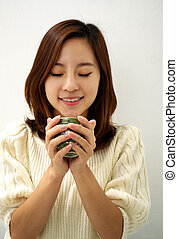 Relax  - woman with cup of coffee or tea