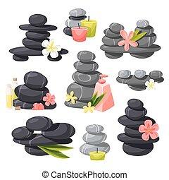 Relax stones vector set. - Render of zen stones pyramid on...