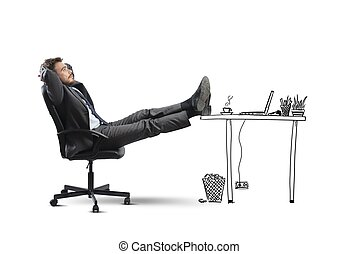 Relax - Successful businessman relaxing in an imaginary ...