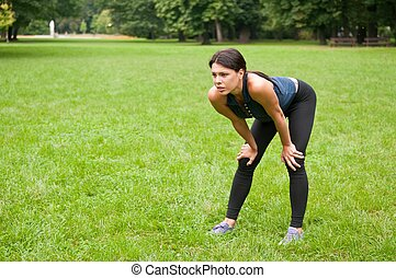 Relax - tired person after jogging