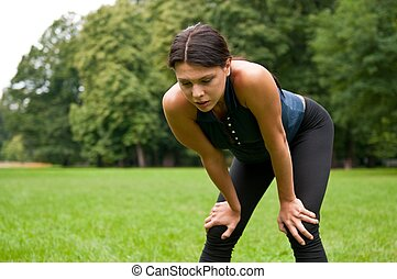 Relax - tired woman after sport