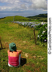 relax - woman on the azores fields