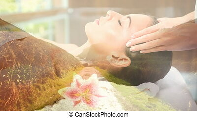 relax women during massage and landscape for valentine day