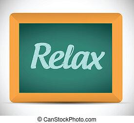 relax word written on a chalkboard. illustration