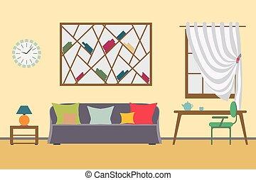 relax., workspace, wektor, freelancer, płaski, wewnętrzny, praca, dom, design.