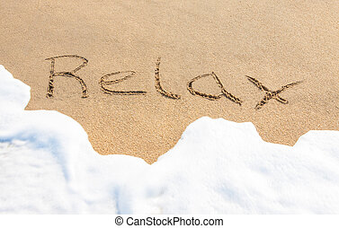 Relax - written in the sand
