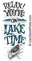 Relax. You're on lake time. Lake sign, rustic wall decor. ...
