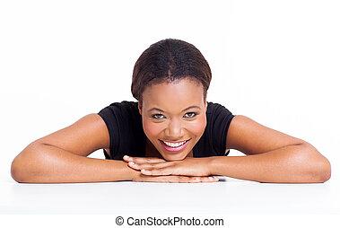 relaxado, jovem, africano, menina