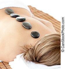 relaxado, mentindo, tabela, massagem, mulher