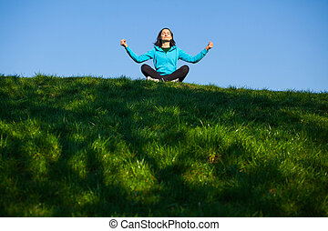 relaxado, mulher, parque