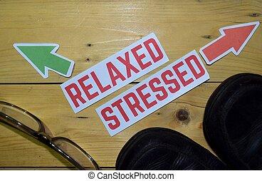 relaxado, ou, cansado, oposta, direção, sinais