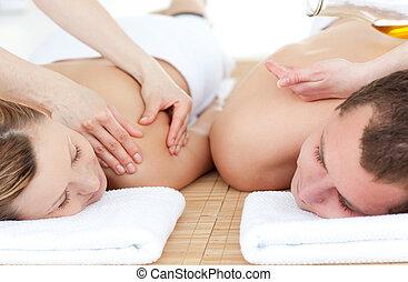 relaxado, par, recebendo, massagem