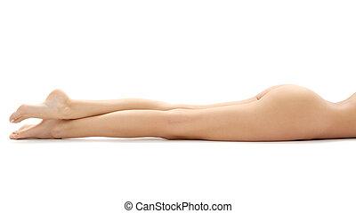 relaxado, pernas, senhora, longo