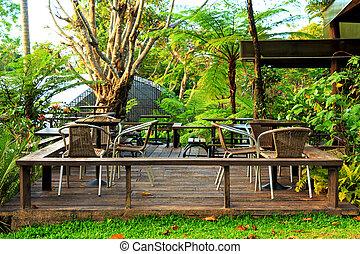 relaxamento, jardim, área