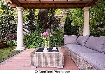 relaxamento, jardim, espaço