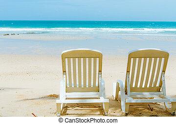 relaxamento, ligado, praia