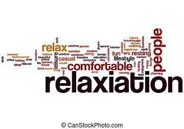 relaxamento, palavra, nuvem