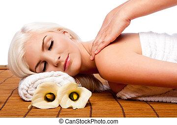 relaxamento, pampering, ombro, massagem, spa
