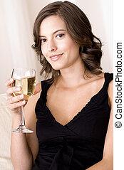 relaxante, com, vinho