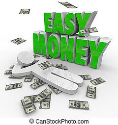 relaxante, dinheiro, dólares, céu, pessoa, fácil, queda