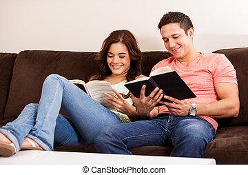 relaxante, e, leitura, casa