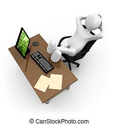 relaxante, em, escritório