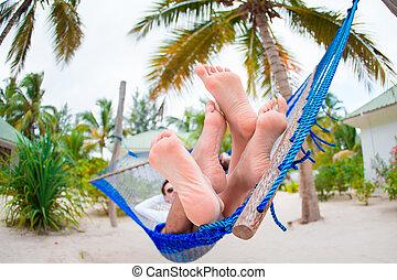 relaxante, férias par, tropicais, rede, feliz