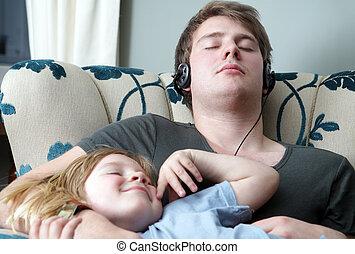 relaxante, irmãos, família, dormir