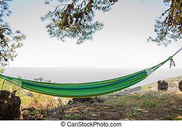 relaxante, ligado, hammock.