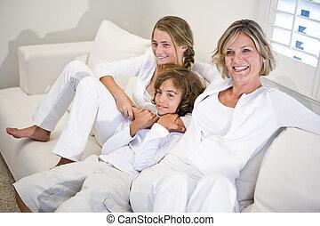 relaxante, mãe, sofá, crianças, branca