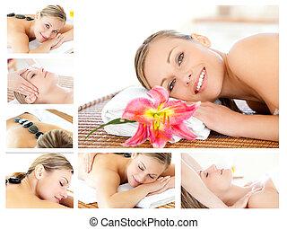 relaxante, massaged, colagem, jovem, sendo, enquanto, menina