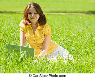 relaxante, menina, laptop