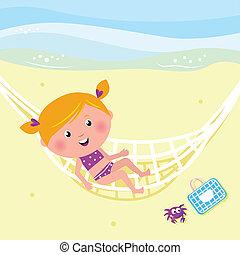 relaxante, menina, praia, beleza, feliz, rede