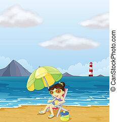 relaxante, menina, praia