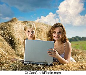 relaxante, meninas, laptop