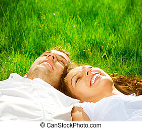 relaxante, par, parque, grass., verde, sorrir feliz