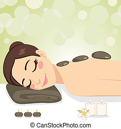 relaxante, pedra, massagem