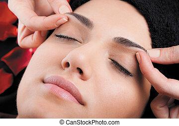 relaxante, rosto, massagem